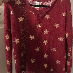 Tops - Burgundy with rose gold lightweight sweater top